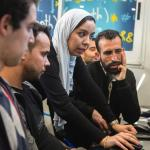 Beneficiaries of the EFE-Morocco project supported by Wehubit are introduced to coding during a training course in digital competences © EFE Morocco